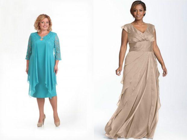 вечерние платье для полных макси и миди , голубой, и серый