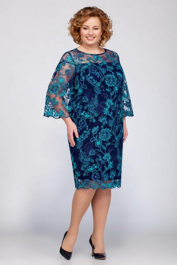 платья для полных: летнее синее миди