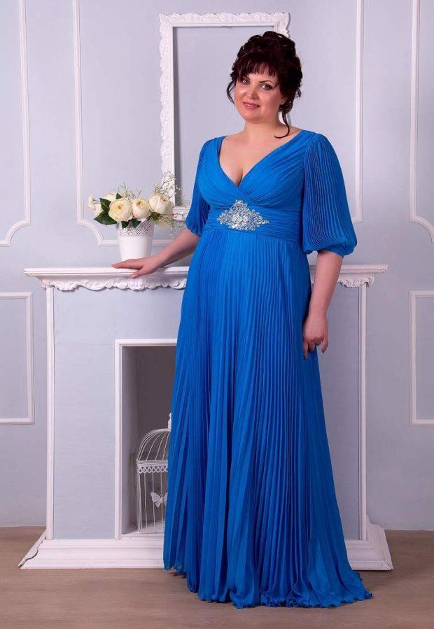 платья для полных: летнее синего цвета макси