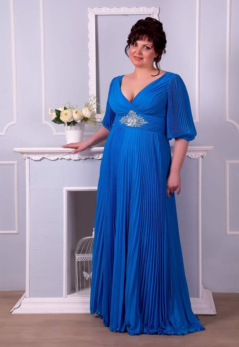 летнее платье синего цвета макси для полных