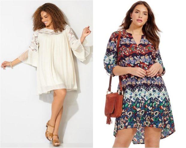 летние платья для полных, белое и в принт