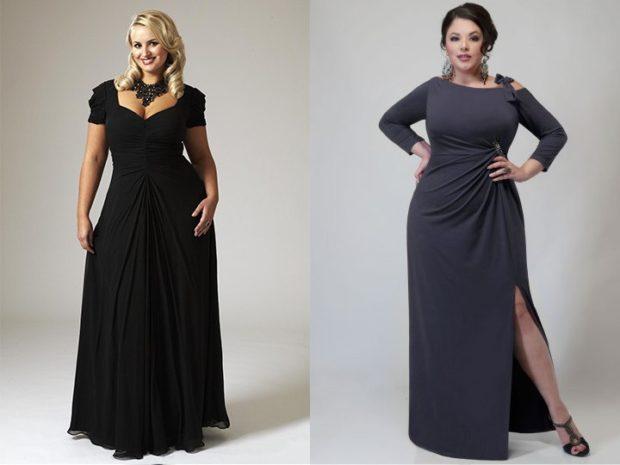 новогоднее платье черного цвета и серого с разрезом с боку, длина макси