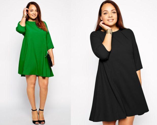 новогоднее платье для полных , укороченное зеленого цвета, свободного кроя