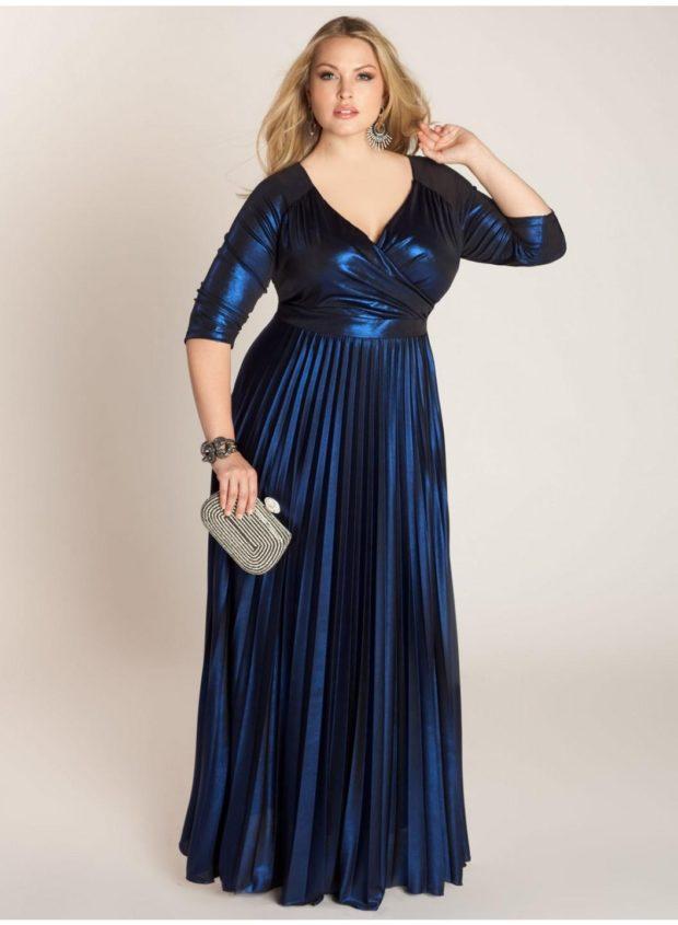 платье для полных женщин: новогоднее длиной макси