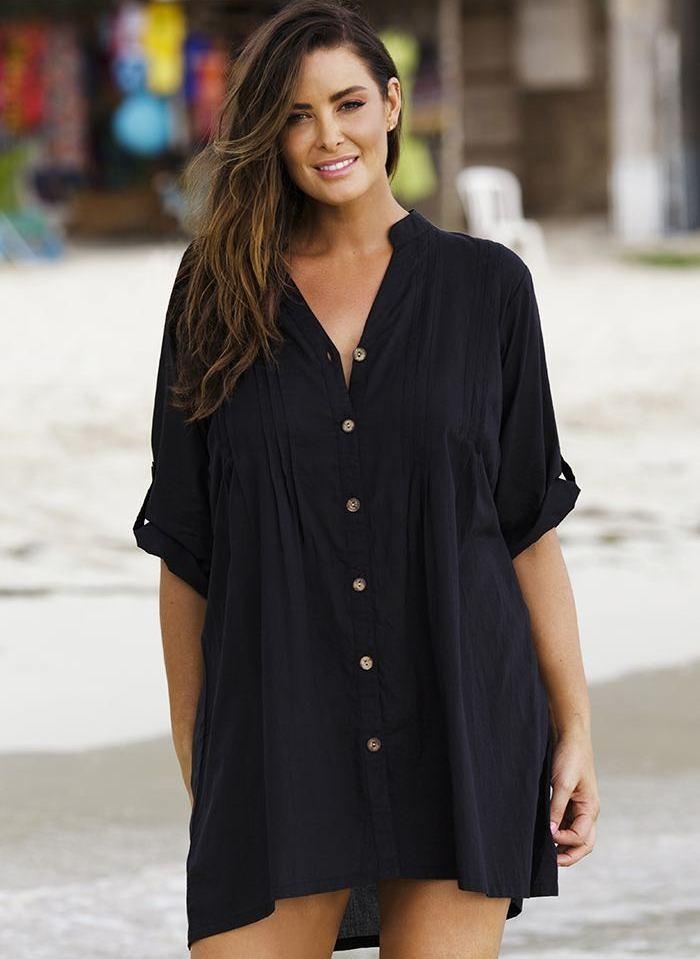 платье-рубашка для полных черного цвета