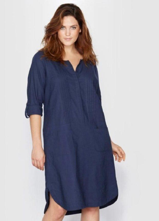 платье для полных женщин: рубашка синего цвета