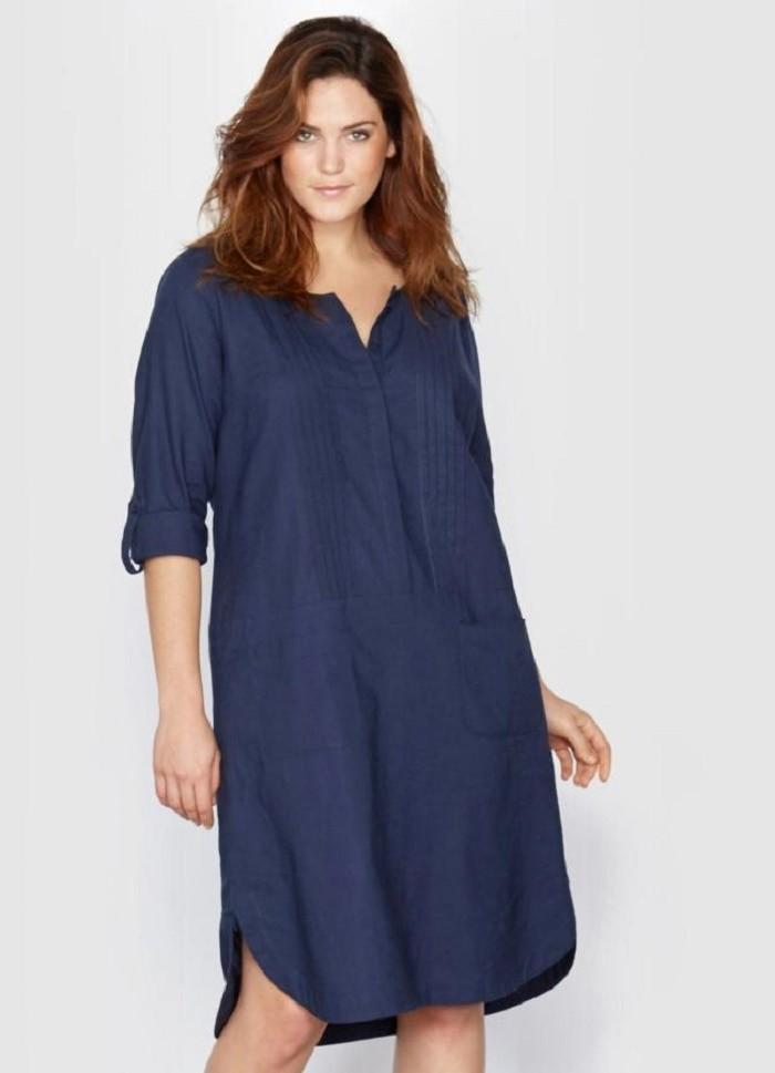 платье-рубашка для полных синего цвета