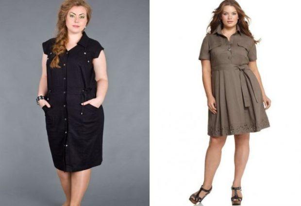 платье для полных женщин: рубашка черного цвета миди