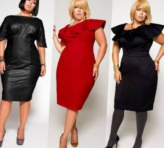 платье длина миди для полных, черное и красное