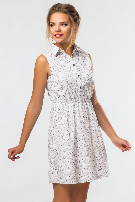 платье-рубашка белого цвета