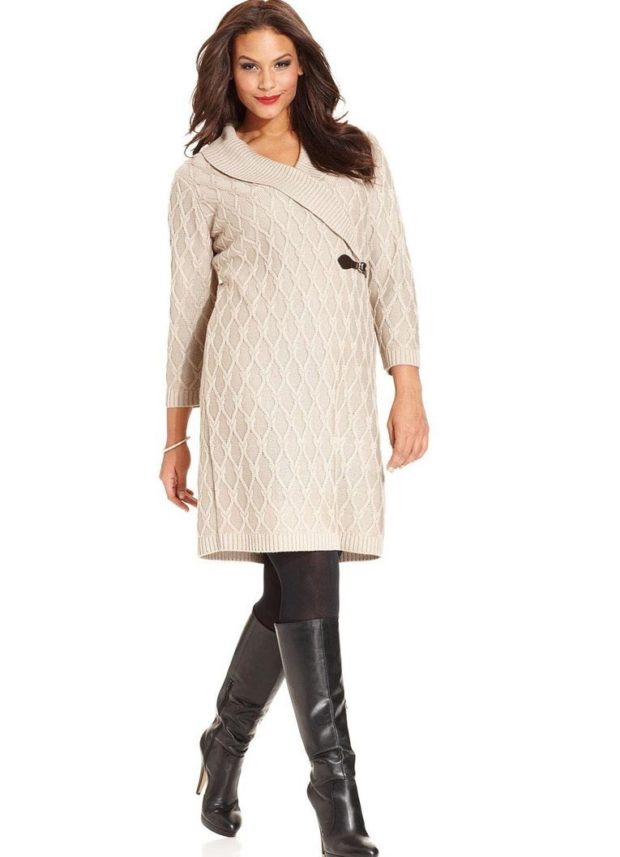 платья полным женщинам: вязаное белого цвета длиной миди