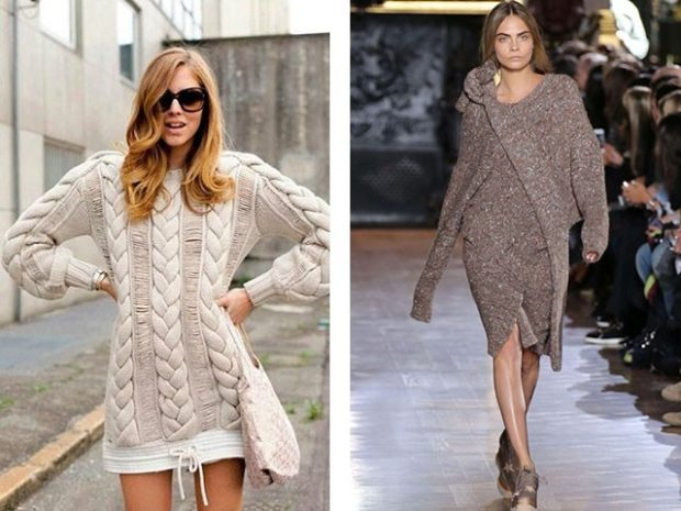 платья полным женщинам: вязаные платья серого цвета