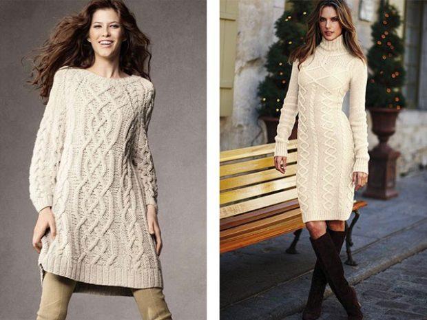 платья полным женщинам: вязаные белого цвета