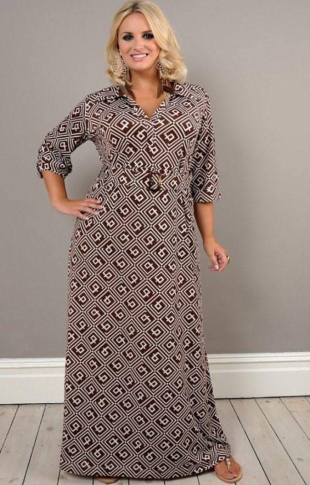 платья полным женщинам: серое вязаное макси