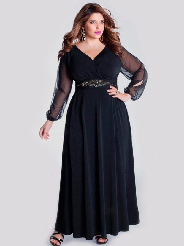 платья полным женщинам: черное с запахом макси