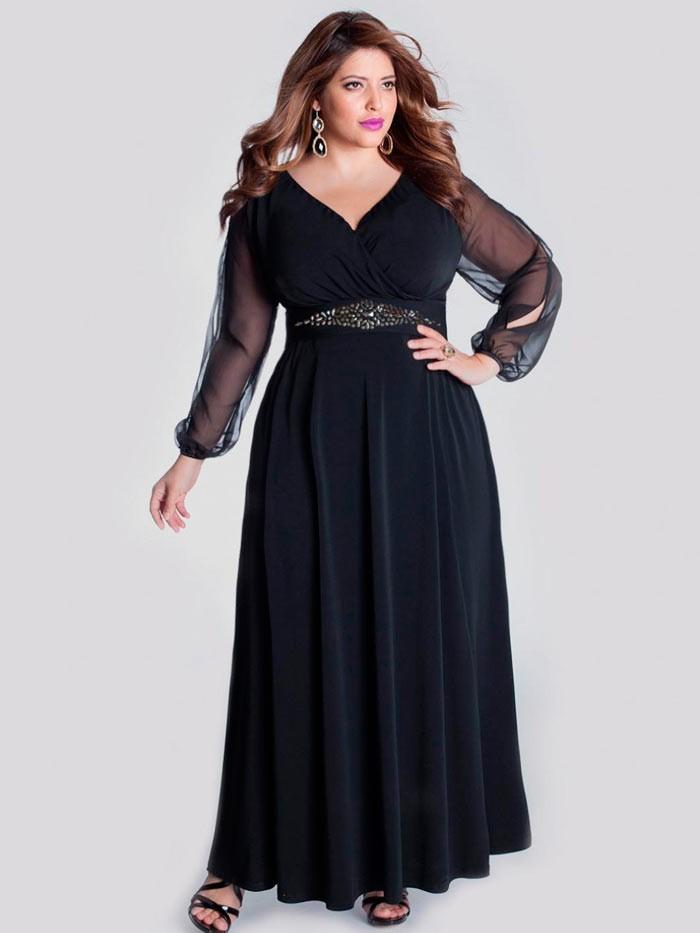 черное платье с запахом для полных макси