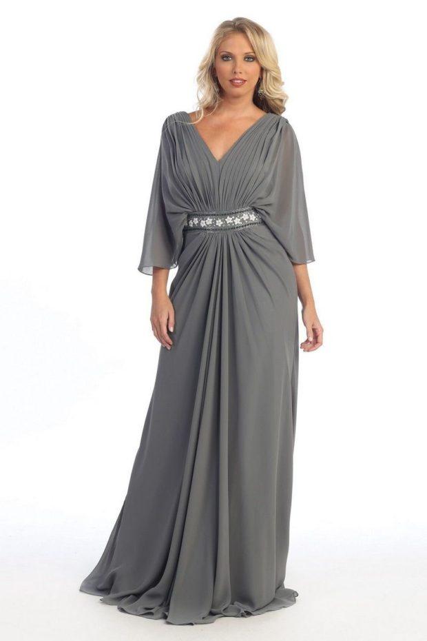 платья полным женщинам: серого цвета макси