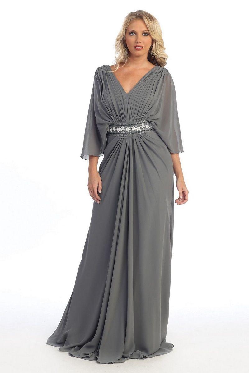 платье серого цвета макси для полных