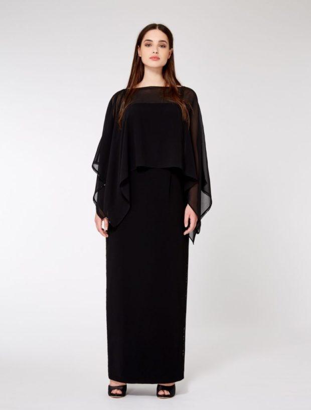 платья полным женщинам: черное длина макси