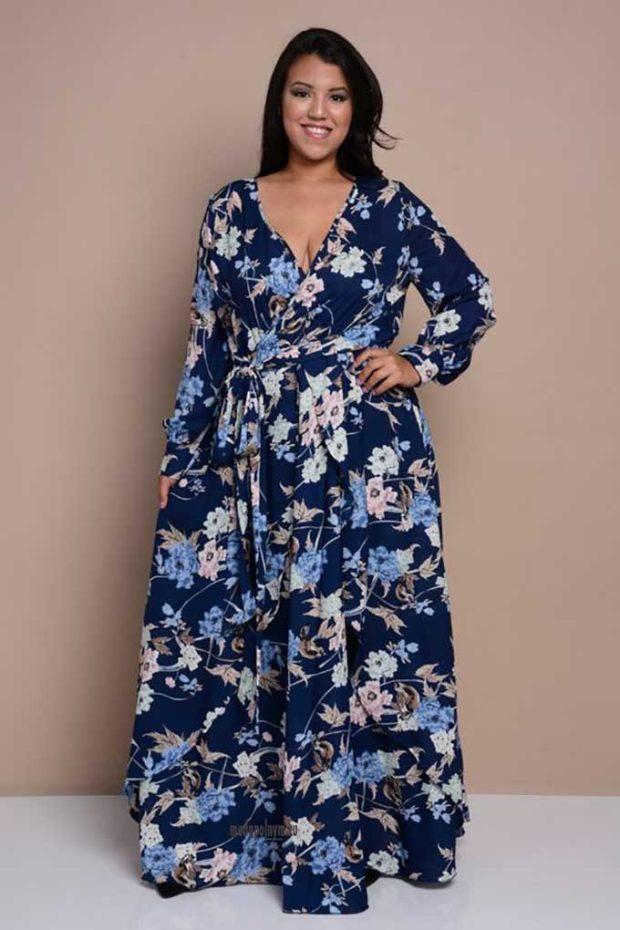 платья полным женщинам: в принт длиной макси