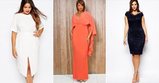 платья полным женщинам: белое оранжевое черное