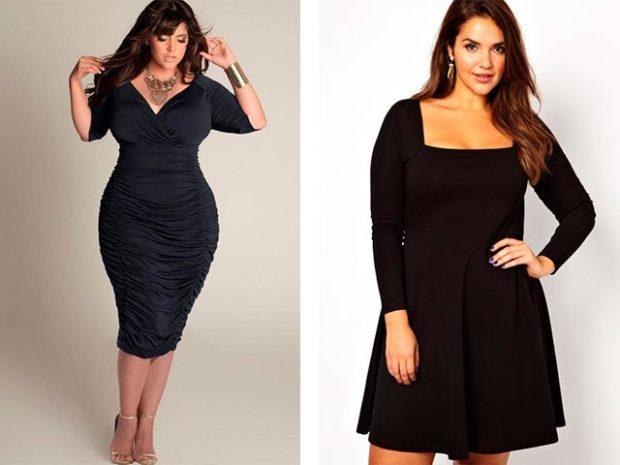 платья полным женщинам: синие с v-образным разрезом