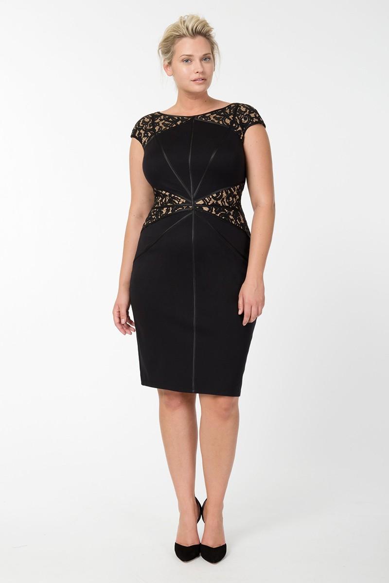 черное платье для полных миди