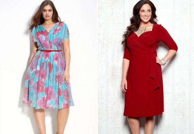 платье для полных в принт и красное