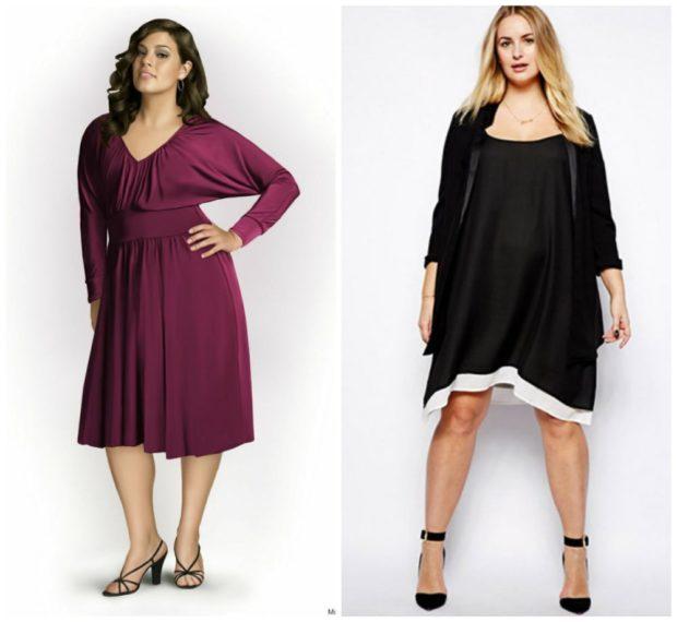 платья полным женщинам: фиолетовое и черное длина миди