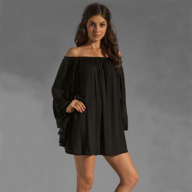 платья полным женщинам: мини черного цвета