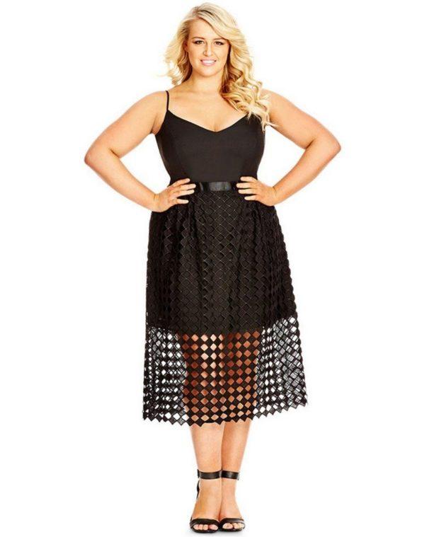 платья полным женщинам: черного цвета