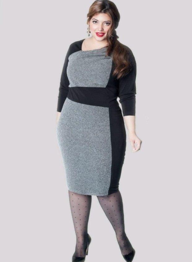 платья полным женщинам: офисное черное с серым