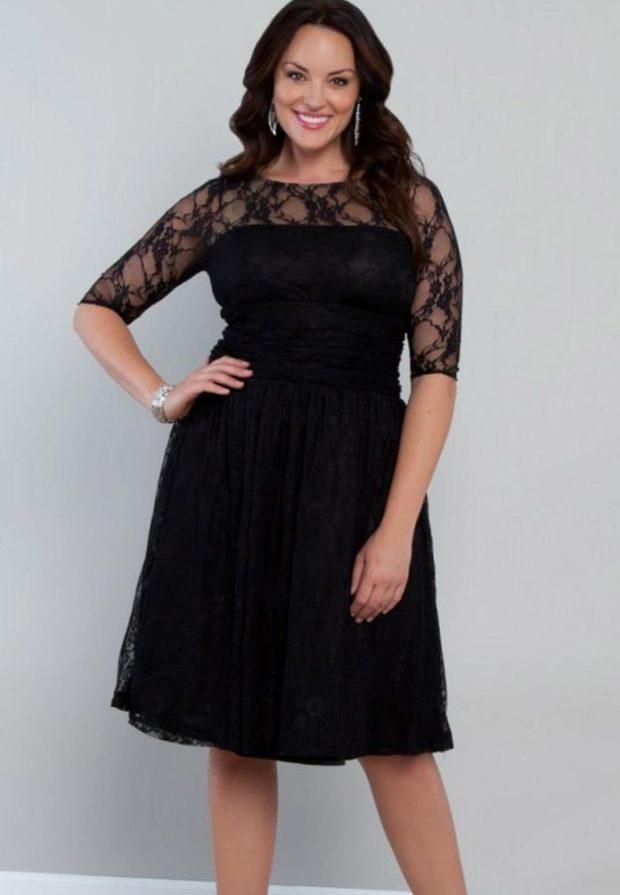 платье полным женщинам фото новинки: офисное черного цвета