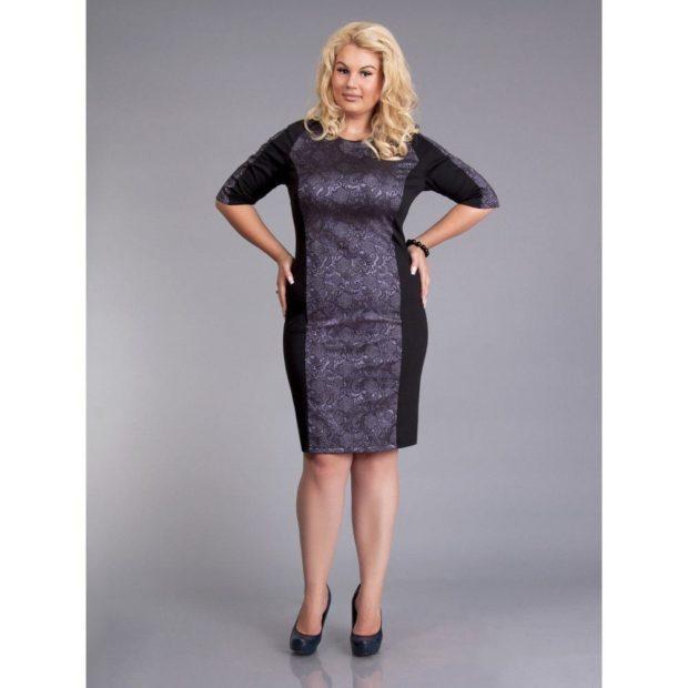 офисное платье для полных черное с серым