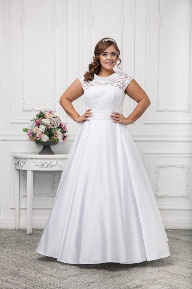 платье полным женщинам фото новинки: свадебное в пол