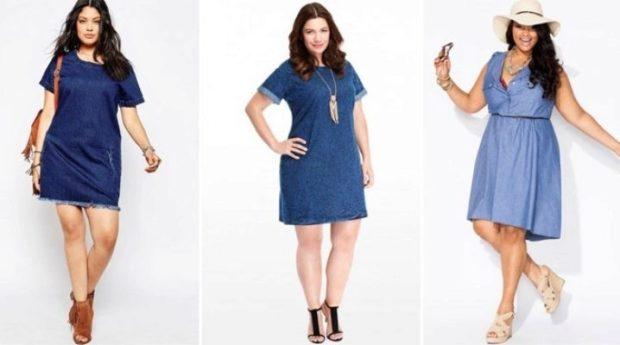 платье полным женщинам фото новинки: джинсовые с короткими