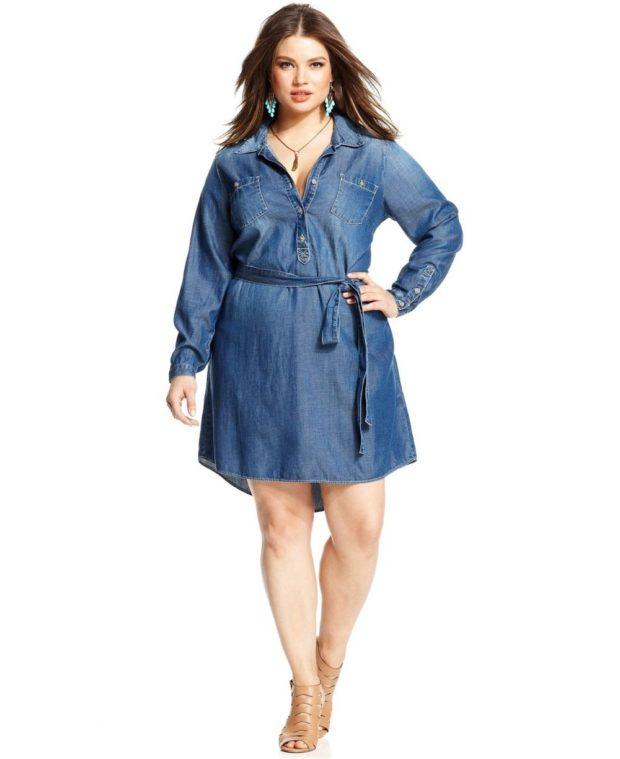 платье полным женщинам фото новинки: джинсовые с длинными рукавами