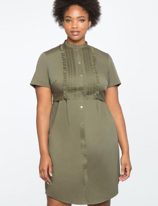 платья для полных женщин: зеленое в пол