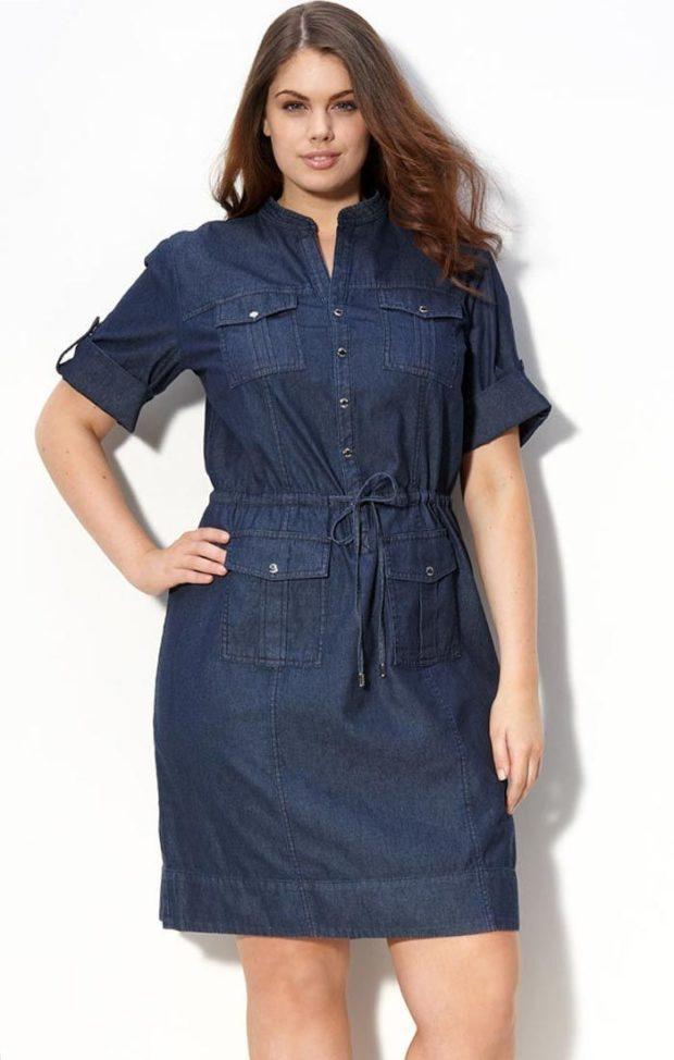 платье полным женщинам фото новинки: джинсовое с коротким рукавом