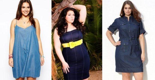 платье полным женщинам фото новинки: джинсовое с желтым ремнем