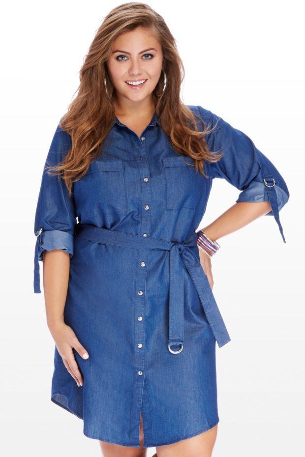 платье полным женщинам фото новинки: джинсовое с рукавом по локоть
