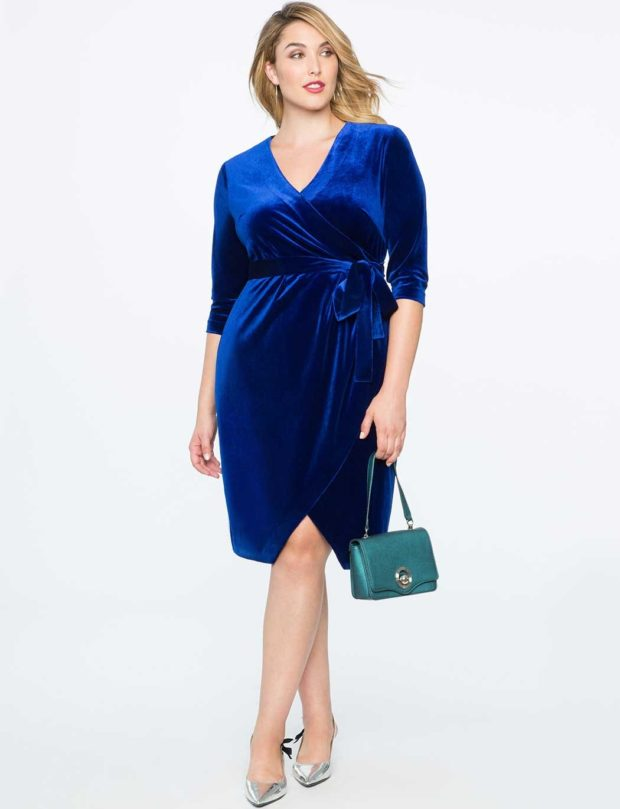 платье для полных девушек фото новинки: повседневное синего цвета