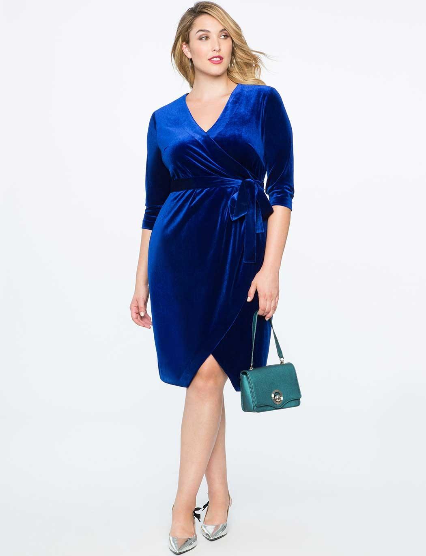 повседневное платье для полных синего цвета