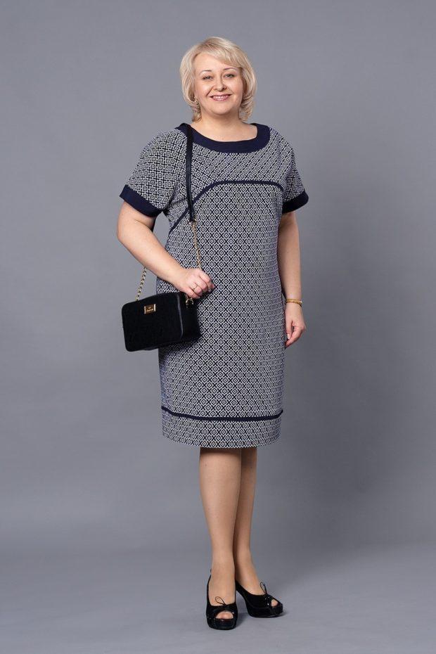 платье для полных девушек фото новинки: повседневное серого цвета
