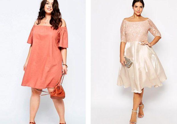 платье для полных девушек: малиновое и белое