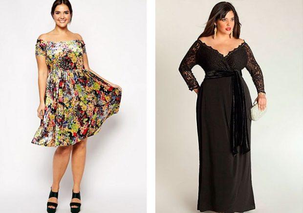 платье для полных девушек: в принт с открытыми плечами и черное