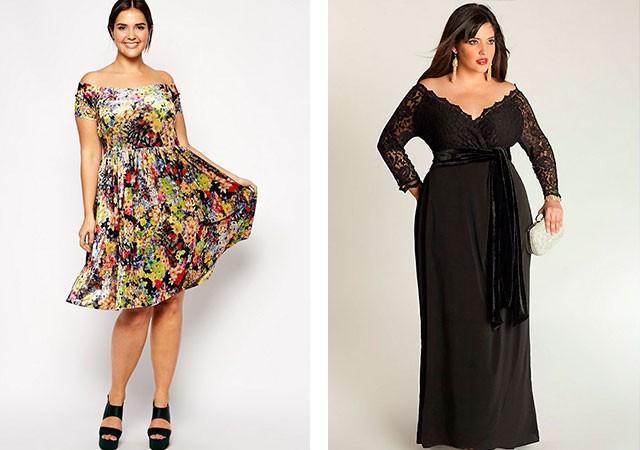 платье в принт с открытыми плечами, и черное для полных