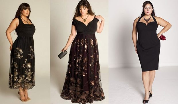 платье для полных девушек: черное в принт с открытыми плечами