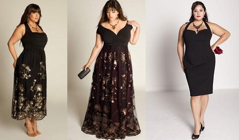 черное платье в принт с открытыми плечами для полных