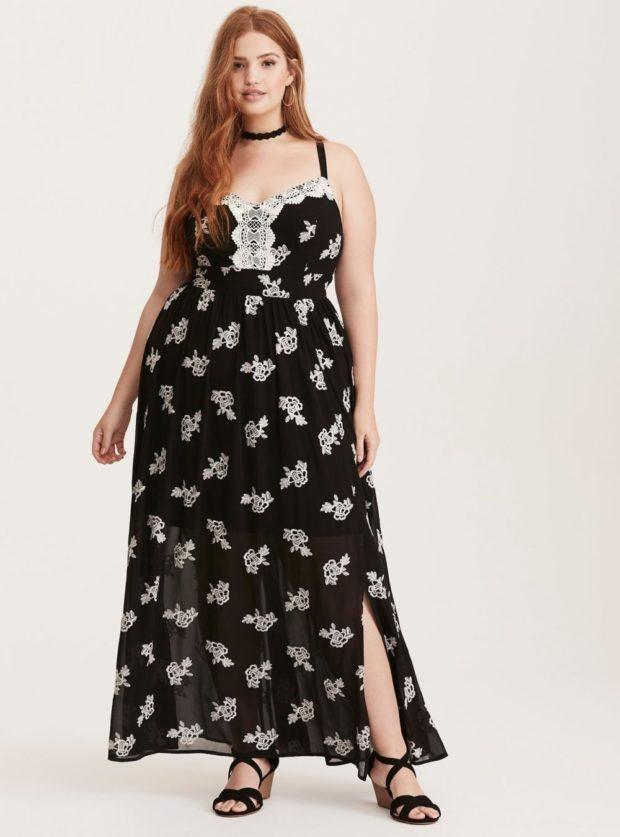 платье черное для полных с разрезом слева